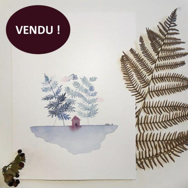 """Aquarelle """"Cabane framboise sous les fougères"""". Copyright Valérie Faure"""