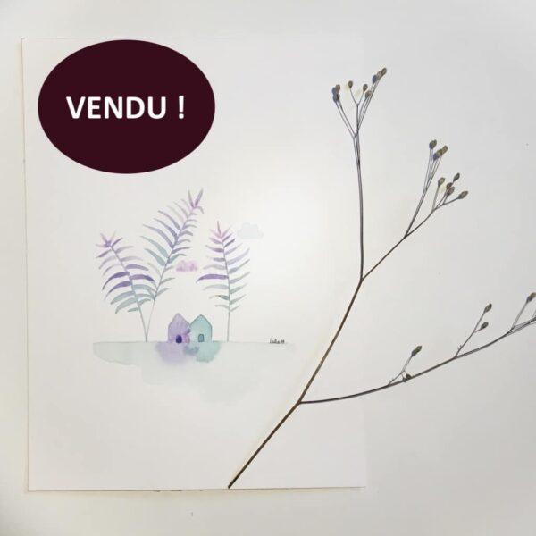 """Aquarelle """"Fougères féériques"""". Copyright Valérie Faure"""