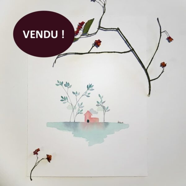 """Aquarelle """"Maisonnette au jardin menthe à l'eau"""". Copyright Valérie Faure"""