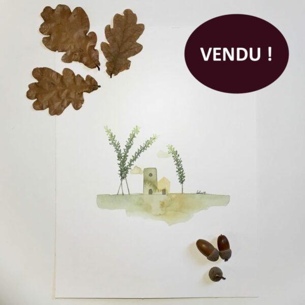 "Aquarelle ""Petit mas au romarin"". Copyright Valérie Faure"