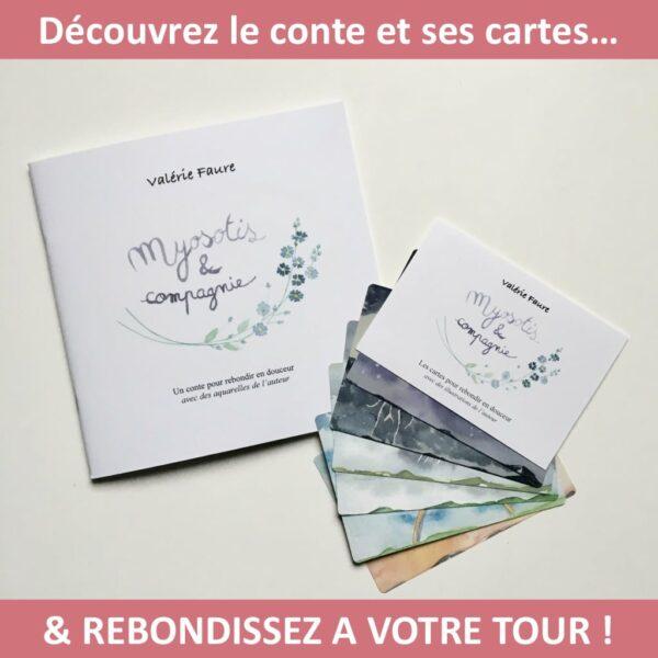 """Le conte et les cartes """"Myosotis et compagnie"""". Copyright Valérie Faure"""