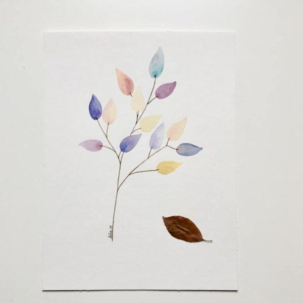 """Aquarelle """"Branche colorée #1"""". Copyright Valérie Faure"""