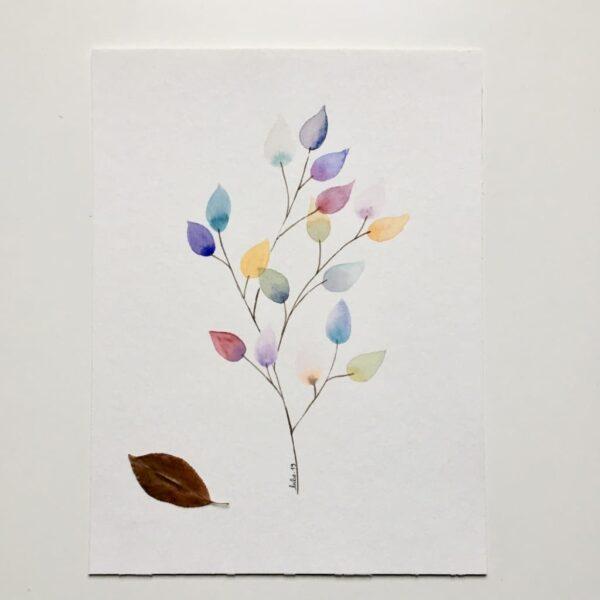 """Aquarelle """"Branche colorée #2"""". Copyright Valérie Faure"""