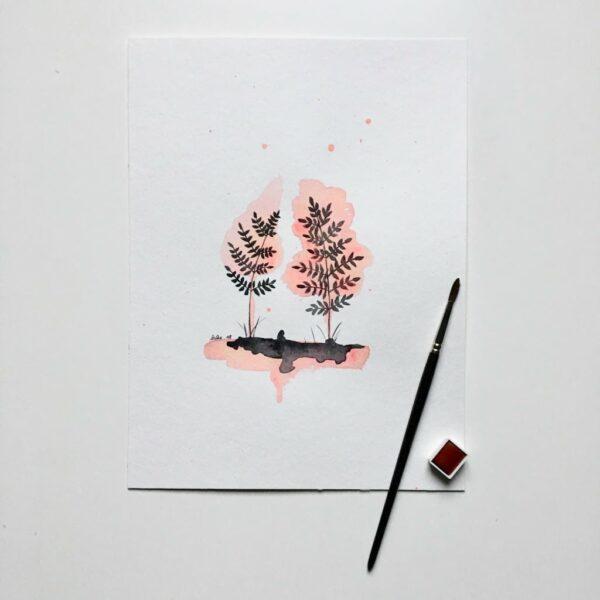 """Aquarelle """"Contre-jour rose"""". Copyright Valérie Faure"""