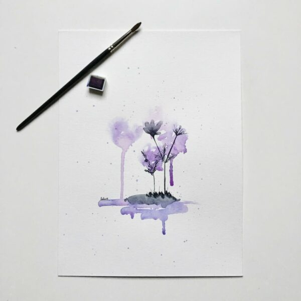 """Aquarelle """"Contre-jour violet"""". Copyright Valérie Faure"""