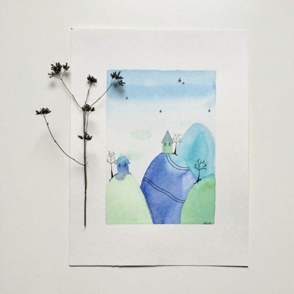 """Aquarelle """"Les petites montagnes bleues"""". Copyright Valérie Faure"""