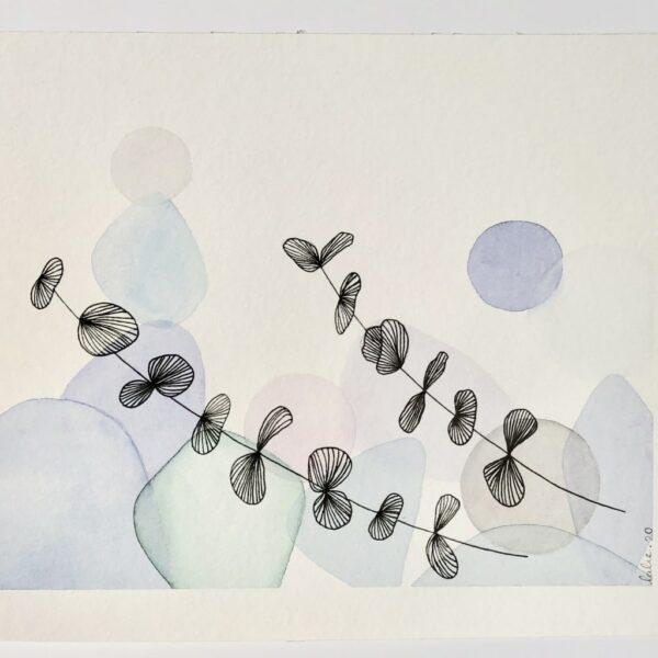 "Aquarelle ""Branches d'eucalyptus"". Copyright Valérie Faure"