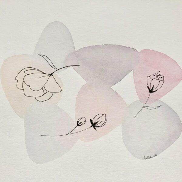 """Aquarelle """"Brassée de magnolias"""". Copyright Valérie Faure"""