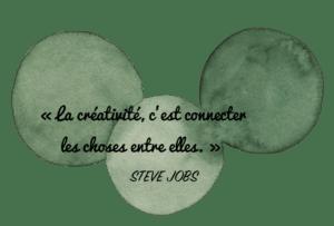Aquarelle Valérie Faure & citation S. Jobs pour illustrer la capacité de rebond
