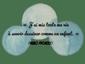 Aquarelle Valérie Faure & citation P. Picasso pour illustrer le lâcher prise